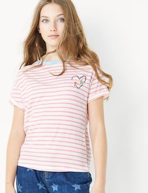 Kız Çocuk Kırmızı Kısa Kollu Çizgili T-Shirt