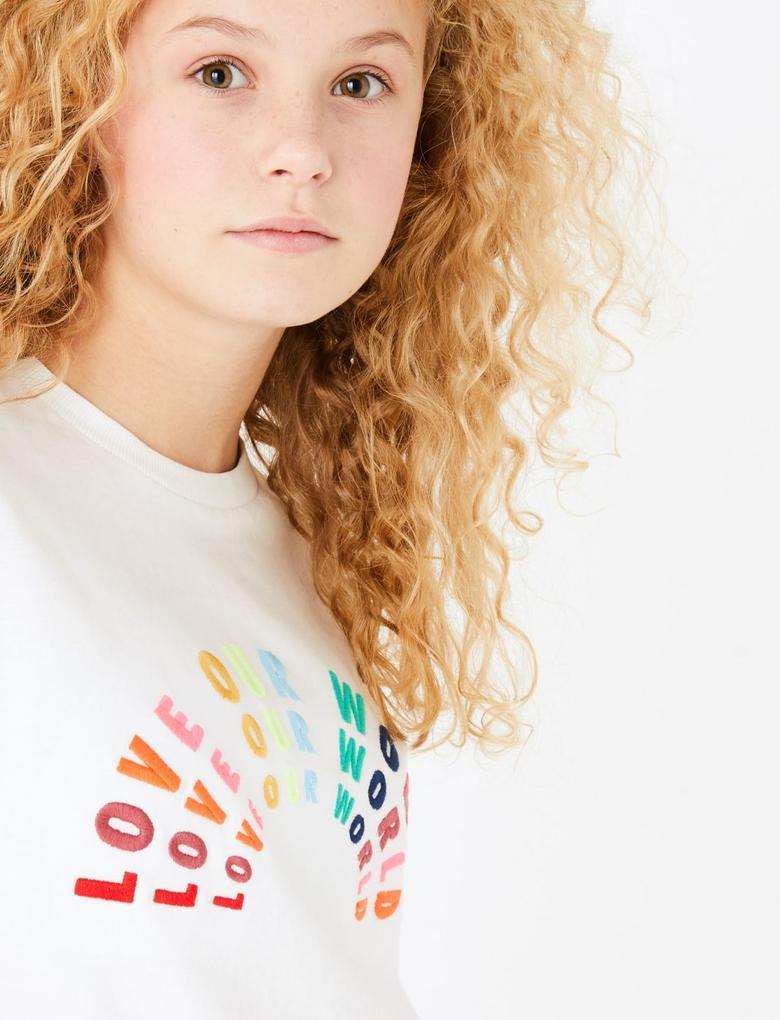Kız Çocuk Beyaz Sloganlı Kısa Kollu T-Shirt