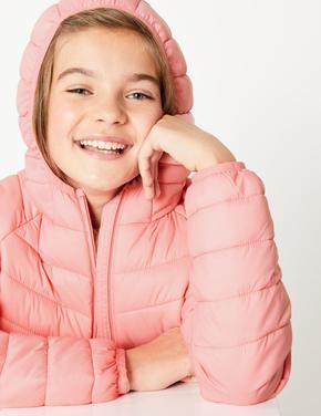 Kız Çocuk Pembe Kapüşonlu Dolgulu Mont