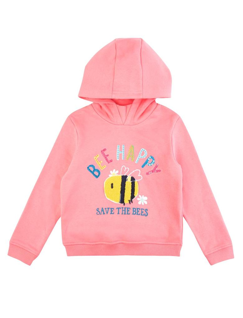 Kız Çocuk Pembe Sloganlı Kapüşonlu Sweatshirt