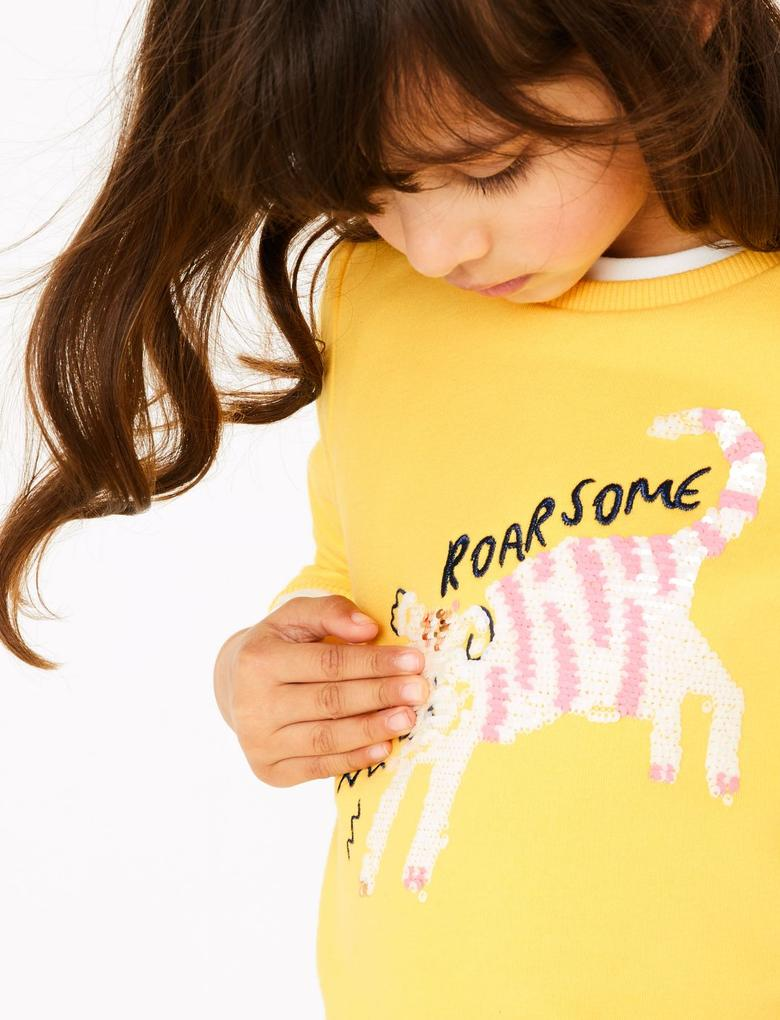Kız Çocuk Sarı Pullu İşlemeli Sweatshirt