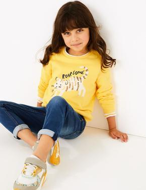 Sarı Pullu İşlemeli Sweatshirt