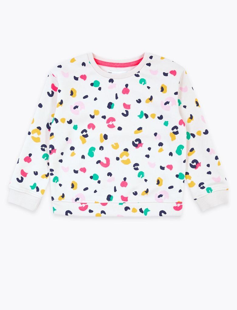 Kız Çocuk Bej Leopar Desenli Sweatshirt
