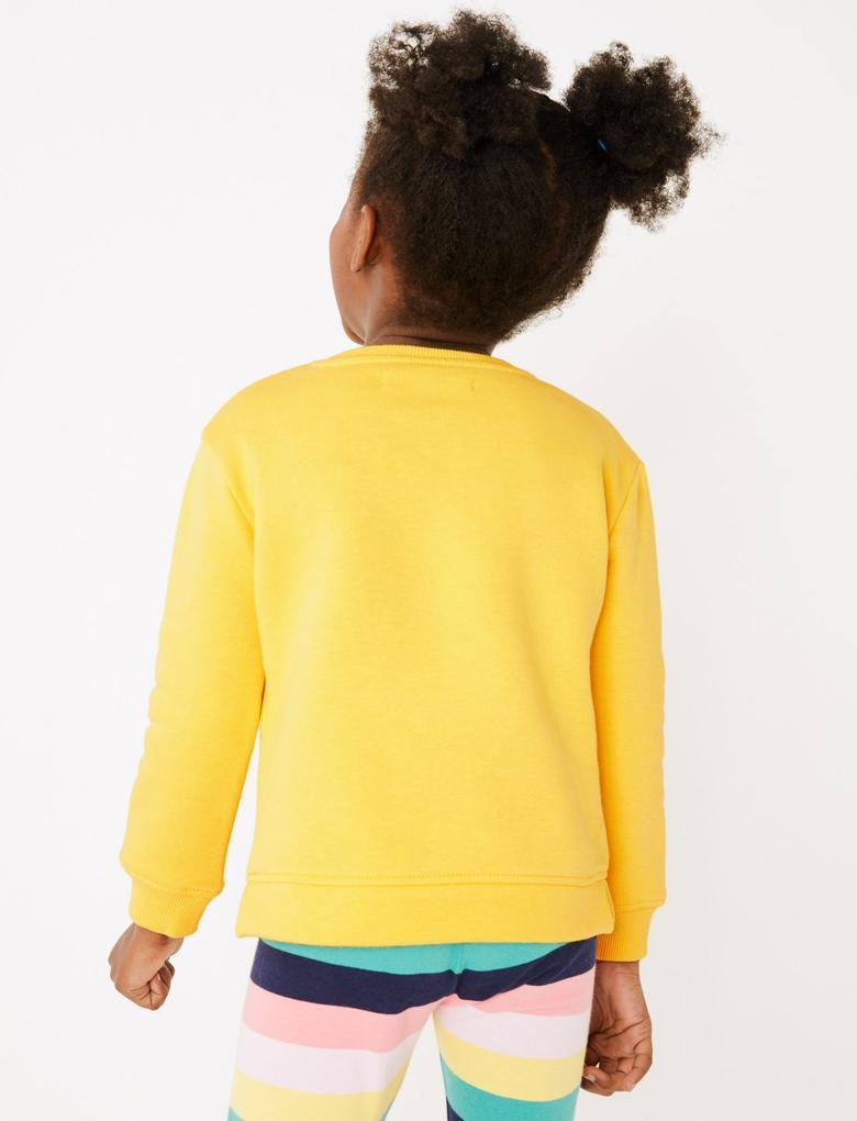 Kız Çocuk Sarı Fil Desenli Sweatshirt
