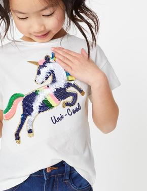 Kız Çocuk Beyaz Pullu Unicorn İşlemeli T-Shirt