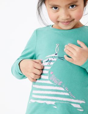 Yeşil Deniz Aslanı Desenli T-Shirt