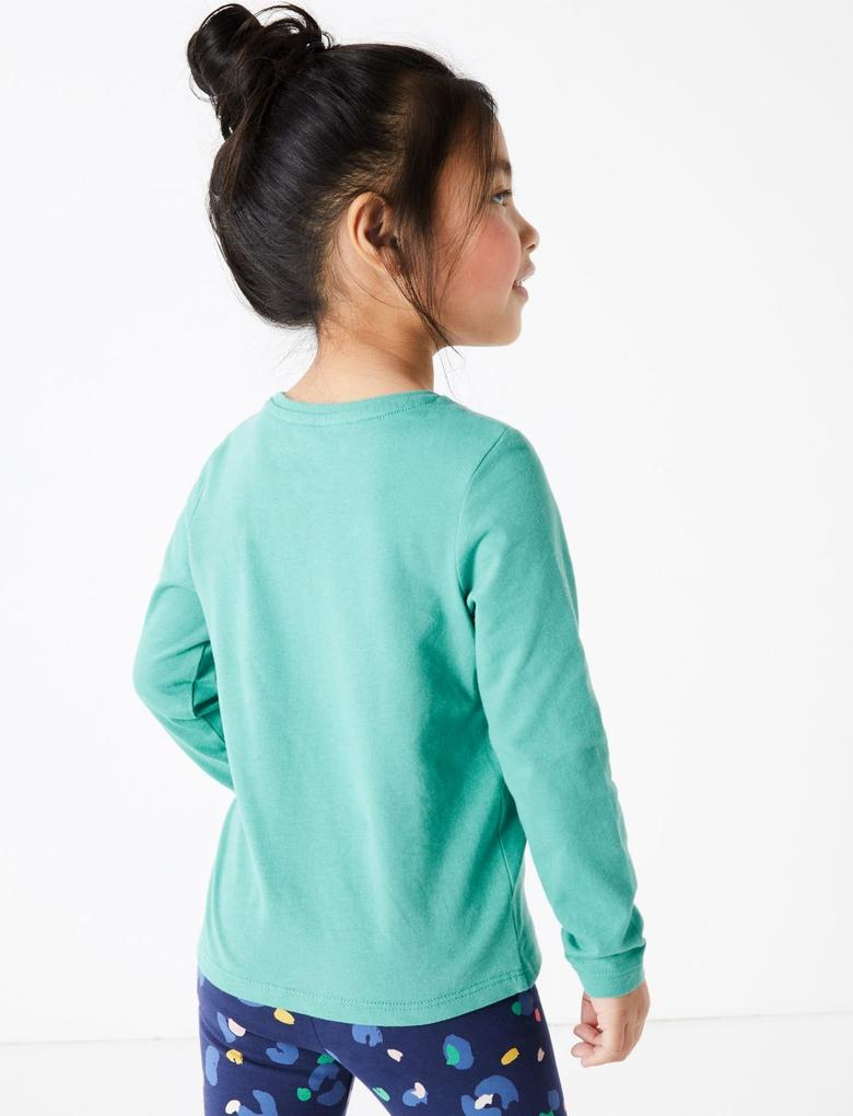 Kız Çocuk Yeşil Deniz Aslanı Desenli T-Shirt