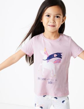 Kız Çocuk Pembe Unicorn İşlemeli Kısa Kollu T-Shirt