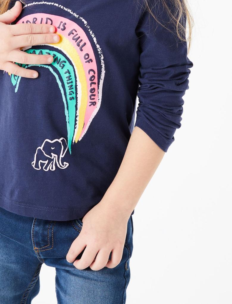 Kız Çocuk Lacivert Gökkuşağı Desenli T-Shirt
