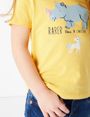 Kız Çocuk Sarı Gergedan ve Unicorn Desenli T-Shirt