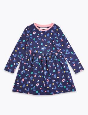 Kız Çocuk Lacivert Leopar Desenli Uzun Kollu Elbise