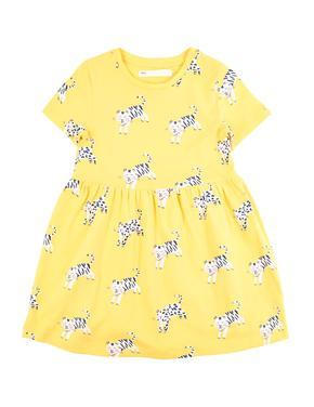 Kız Çocuk Sarı Kaplan Desenli Elbise