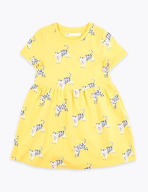 Sarı Kaplan Desenli Elbise