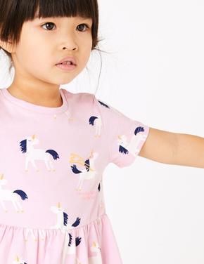 Pembe Unicorn Desenli Elbise