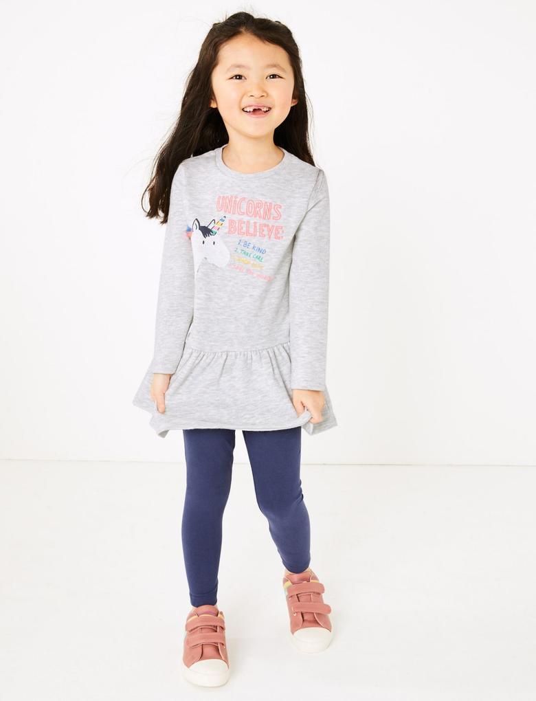 Kız Çocuk Gri Unicorn Desenli Elbise Ve Tayt Takımı