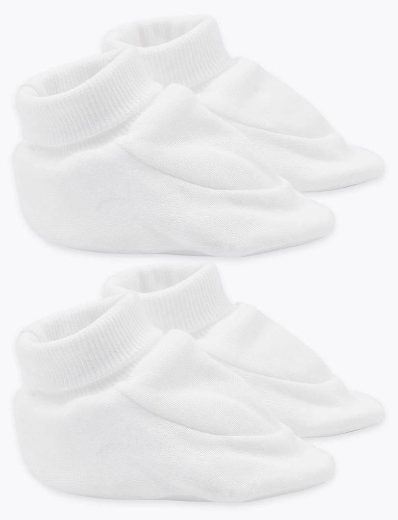 Bebek Beyaz 2'li Organik Pamuklu Patik Seti