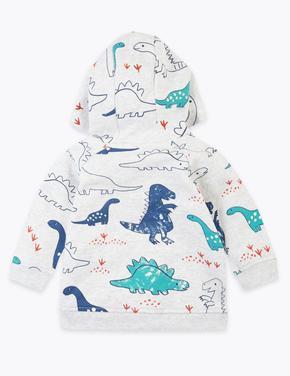 Bebek Gri Dinozor Desenli Kapüşonlu Sweatshirt