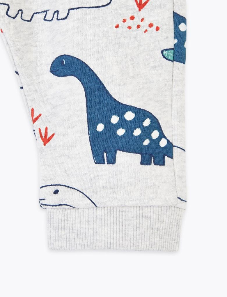 Bebek Gri 2'li Dinozor Desenli Eşofman Altı Seti