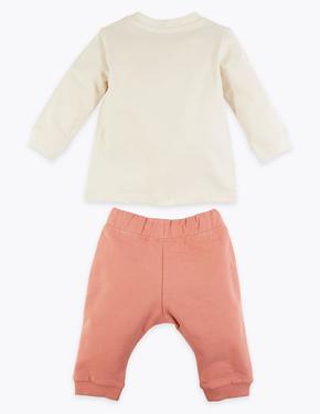Bebek Kahverengi 2'li Sloganlı Alt ve Üst Takım