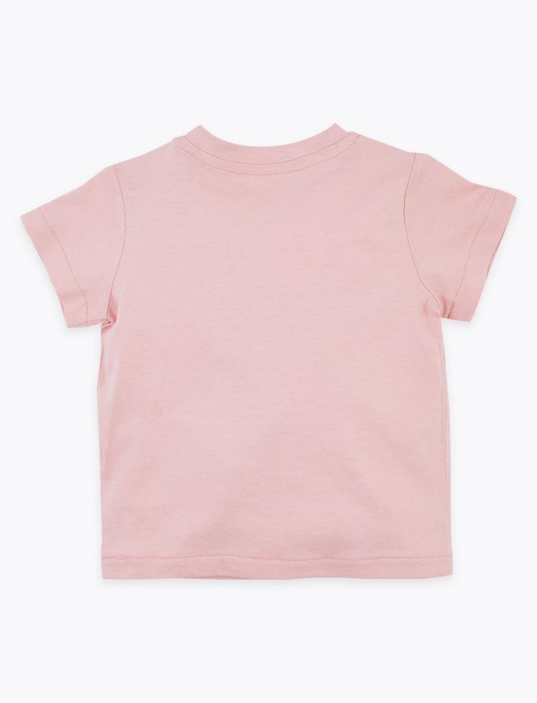 Bebek Pembe Zürafa Desenli T-Shirt