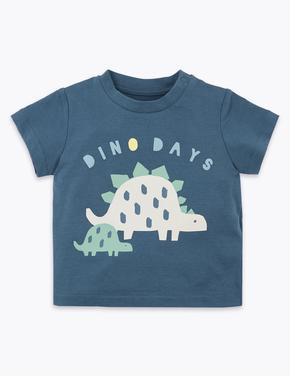 Bebek Lacivert Dinozor Desenli T-Shirt