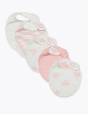 Bebek Pembe 5'li Organik Pamuklu Önlük Seti
