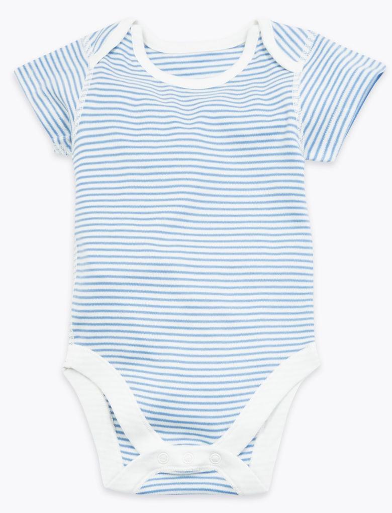 Bebek Mavi 7'li Organik Pamuklu Desenli Body Seti