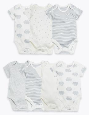 Bebek Gri 7'li Organik Pamuklu Desenli Body Seti