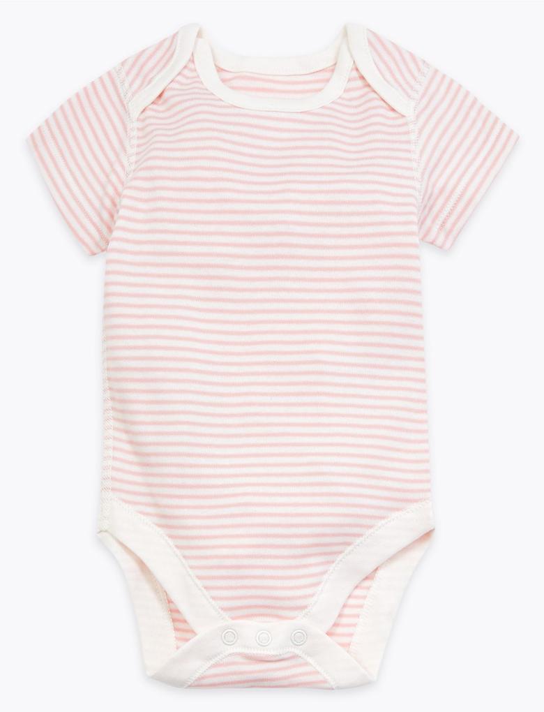 Bebek Pembe 7'li Organik Pamuklu Desenli Body Seti