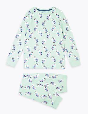 Çocuk Yeşil Baykuş Desenli Pijama Takımı