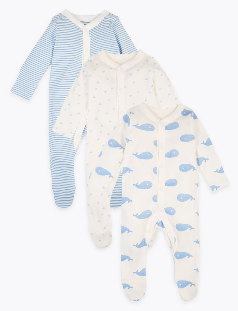 Bebek Mavi 3'lü Organik Pamuklu Tulum Seti