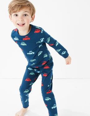 Çocuk Lacivert Araba Desenli Pijama Takımı