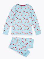 Çocuk Mavi Kiraz Desenli Pijama Takımı