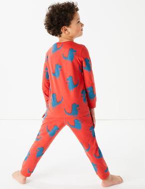 Çocuk Kırmızı Dinozor Desenli Pijama Takımı