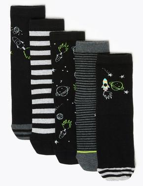 Multi Renk 5'li Desenli Çorap Seti