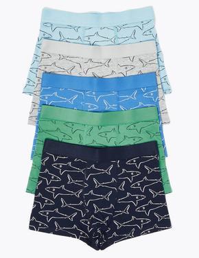 Çocuk Gri 5'li Köpek Balığı Desenli Trunk Seti