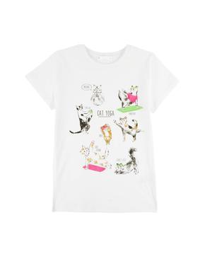 Kız Çocuk Multi Renk Kedi Desenli T-Shirt