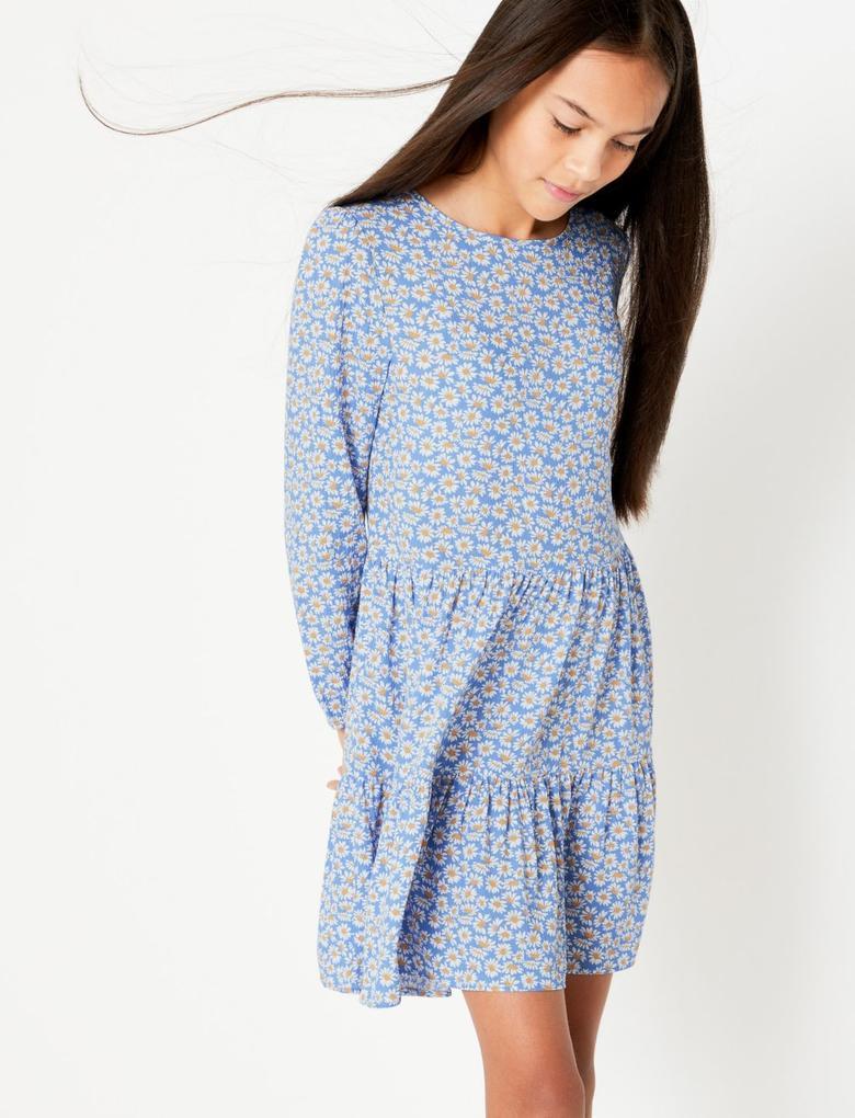 Kız Çocuk Mavi Çiçek Desenli Krinkle Elbise