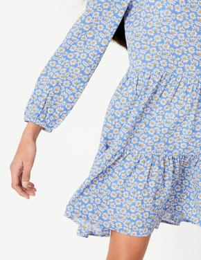 Mavi Çiçek Desenli Krinkle Elbise