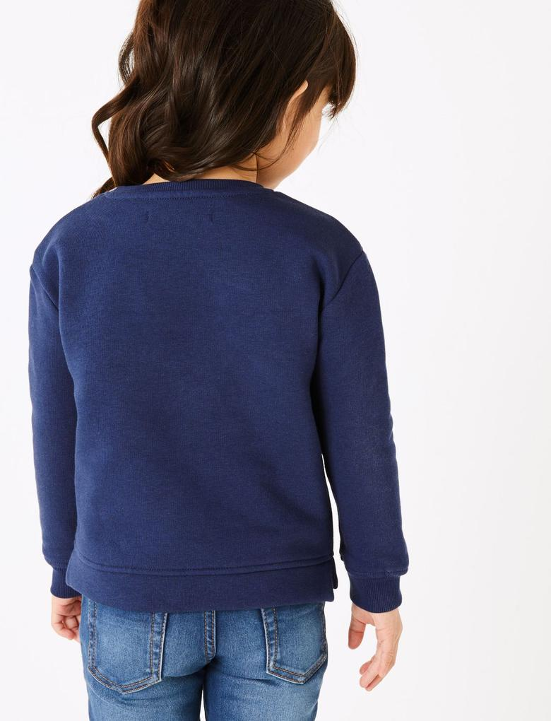 Kız Çocuk Lacivert Sloganlı Yuvarlak Yaka Sweatshirt