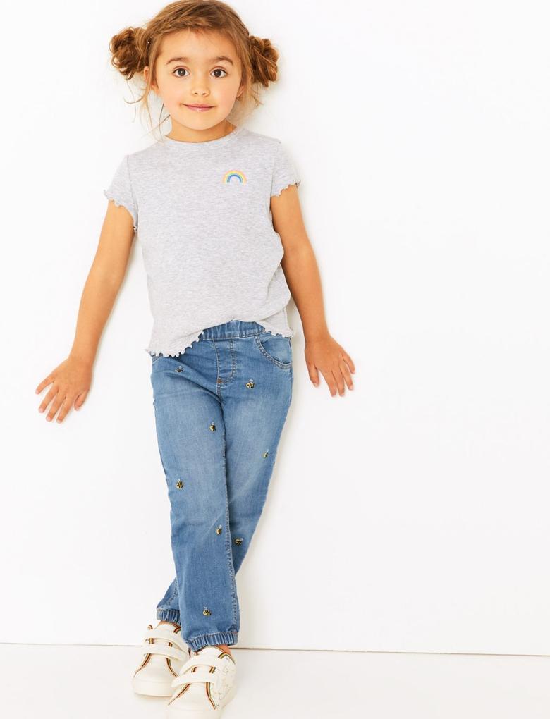 Kız Çocuk Mavi Arı İşlemeli Jean Pantolon