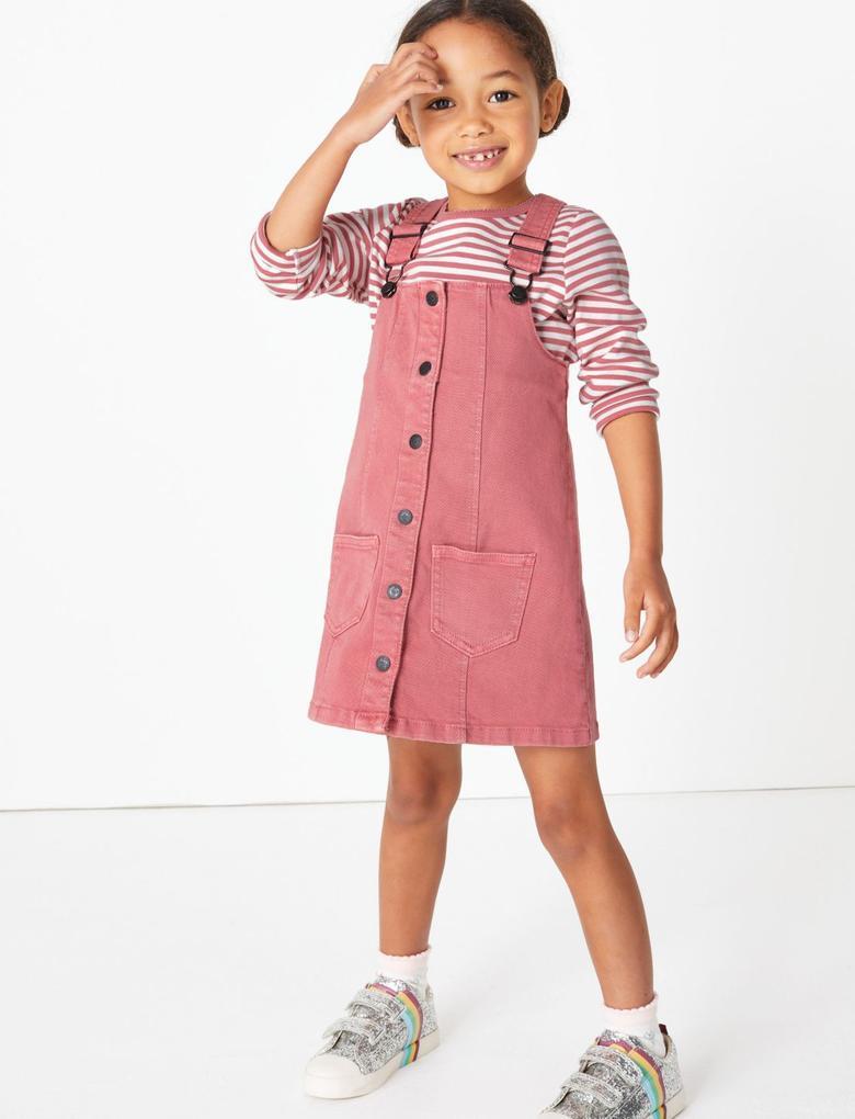 Kız Çocuk Pembe 2'li Denim Salopet ve T-Shirt Takımı
