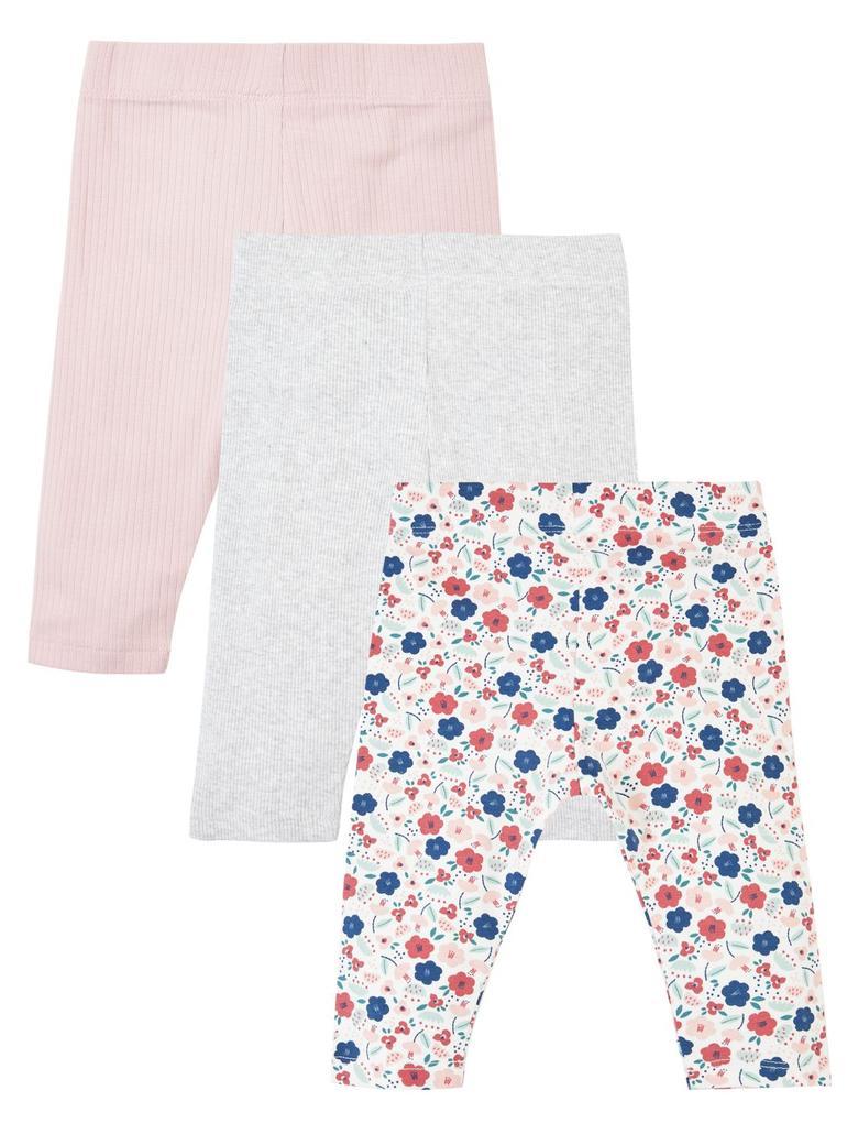 Bebek Multi Renk 3'lü Çiçek Desenli Tayt Seti