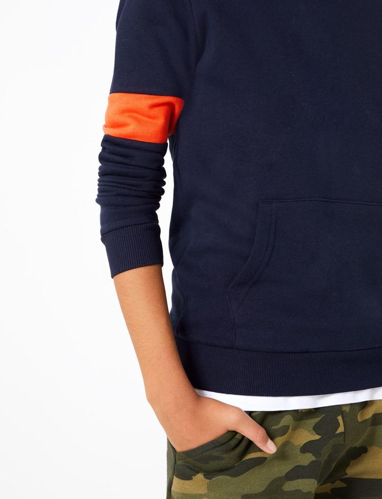 Erkek Çocuk Mavi Kapüşonlu Sweatshirt