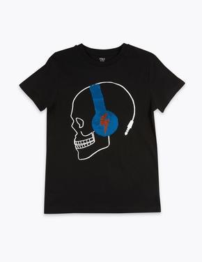 Erkek Çocuk Siyah Kuru Kafa Desenli T-Shirt