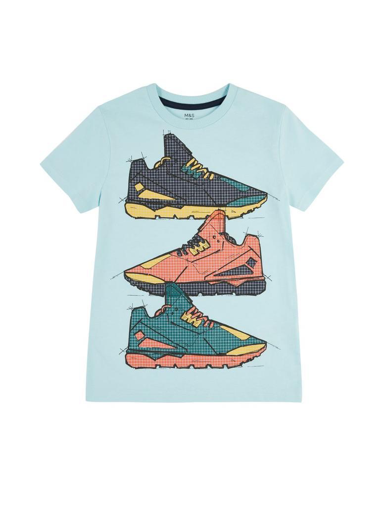 Erkek Çocuk Mavi Desenli Kısa Kollu T-Shirt