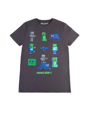 Erkek Çocuk Gri Minecraft™ Desenli Kısa Kollu T-Shirt
