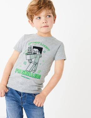 Erkek Çocuk Gri Minecraft™ Sloganlı T-Shirt