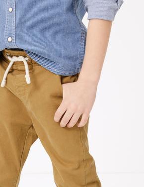 Bej Bağcıklı Kadife Pantolon
