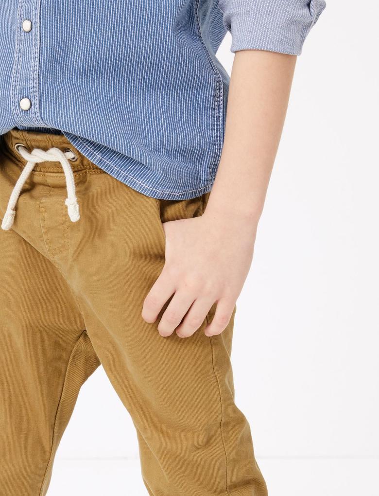 Erkek Çocuk Bej Bağcıklı Kadife Pantolon
